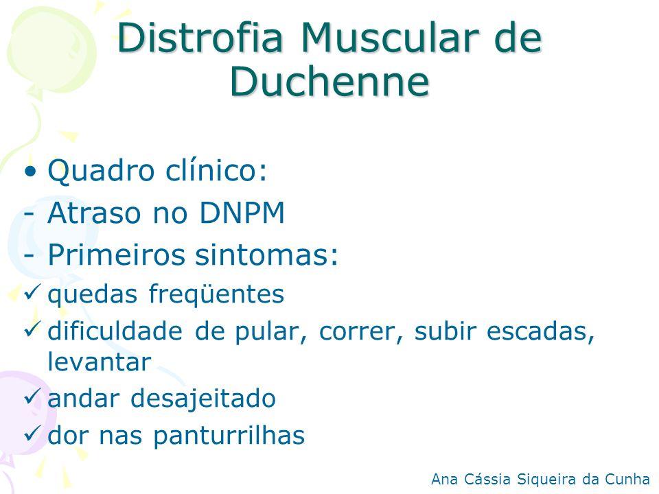 Distrofia Muscular de Duchenne Quadro clínico: -Atraso no DNPM -Primeiros sintomas: quedas freqüentes dificuldade de pular, correr, subir escadas, lev