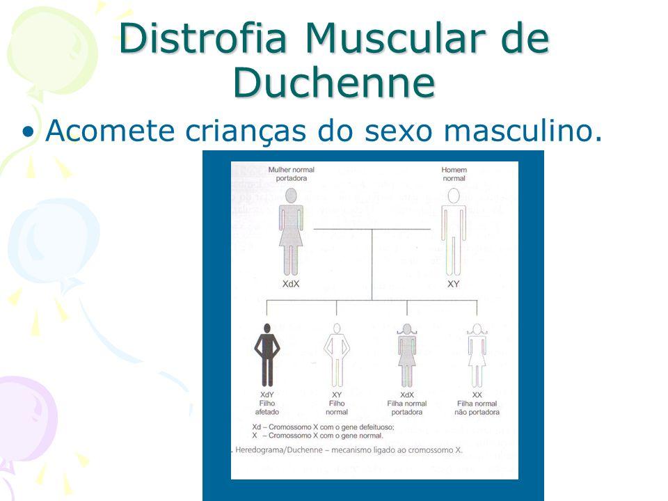 Distrofia Muscular de Duchenne Acomete crianças do sexo masculino.