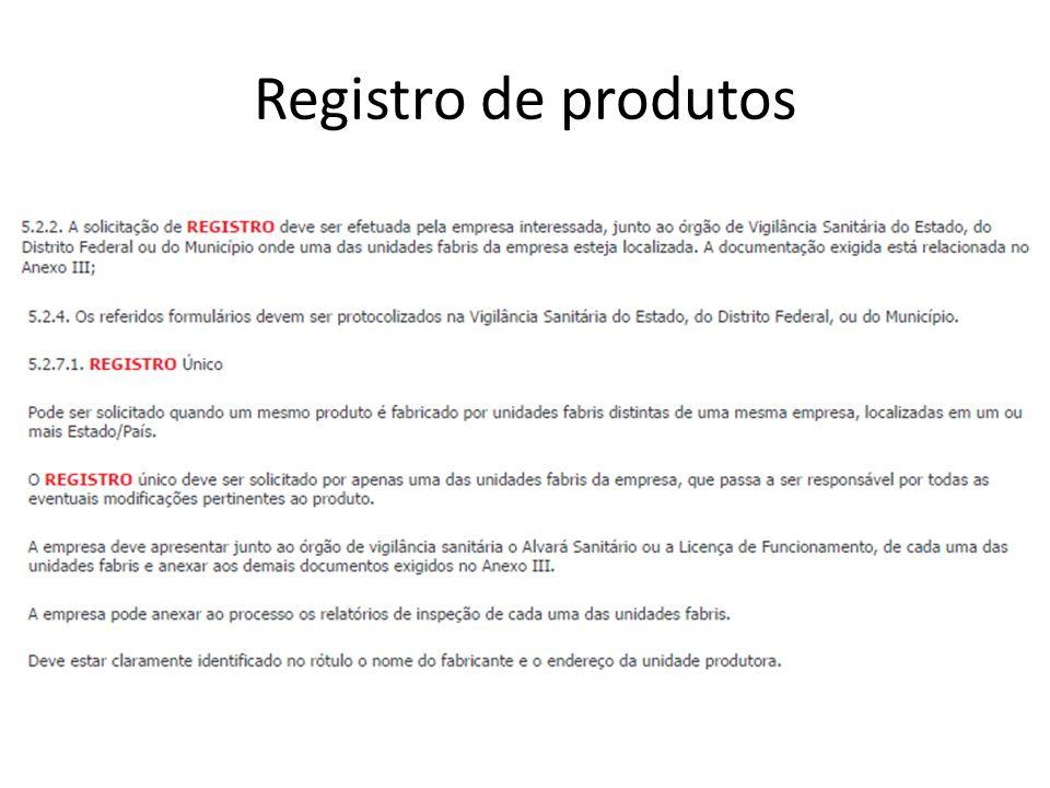 Registro de produtos