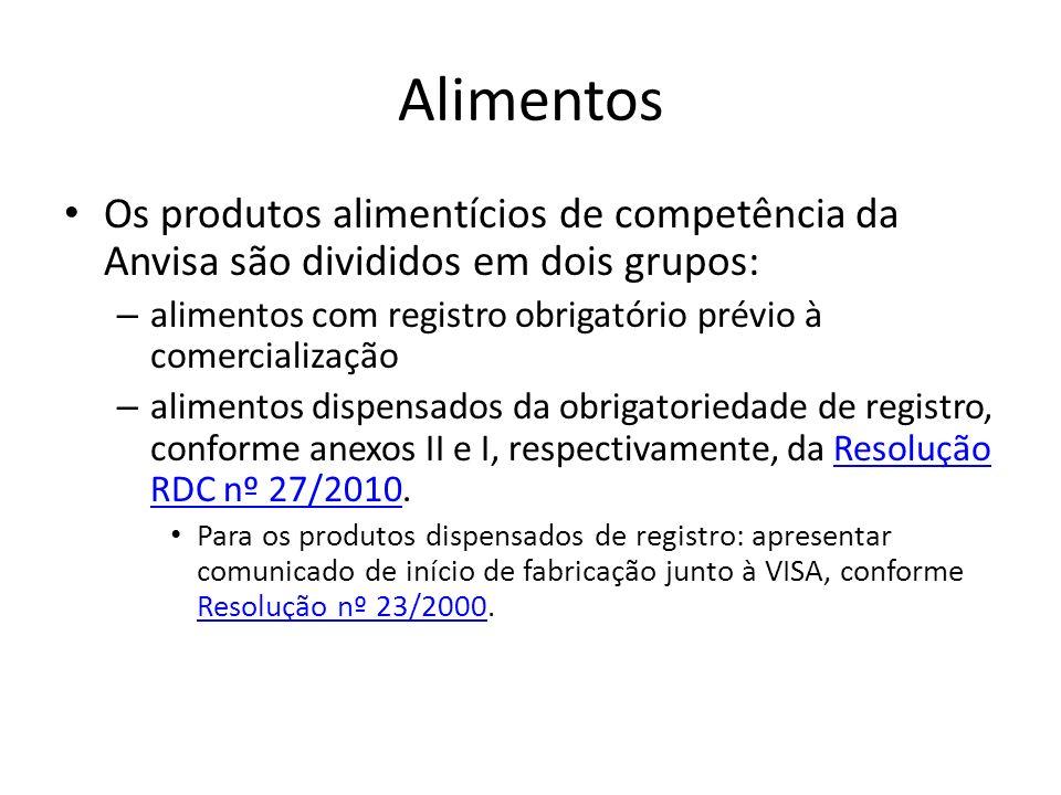 Alimentos Os produtos alimentícios de competência da Anvisa são divididos em dois grupos: – alimentos com registro obrigatório prévio à comercializaçã