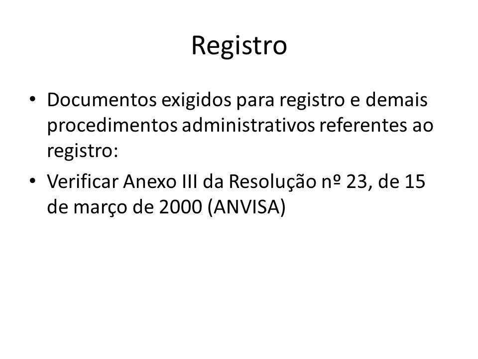Registro Documentos exigidos para registro e demais procedimentos administrativos referentes ao registro: Verificar Anexo III da Resolução nº 23, de 1
