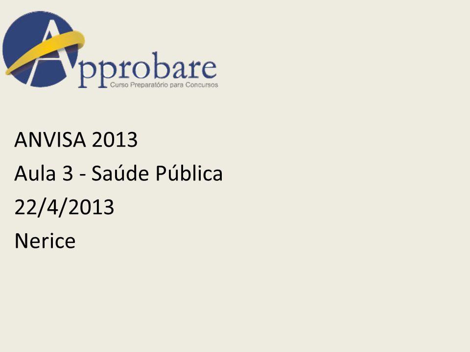 ANVISA 2013 Aula 3 - Saúde Pública 22/4/2013 Nerice
