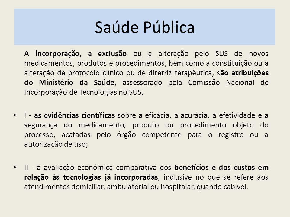 Saúde Pública A incorporação, a exclusão ou a alteração pelo SUS de novos medicamentos, produtos e procedimentos, bem como a constituição ou a alteraç