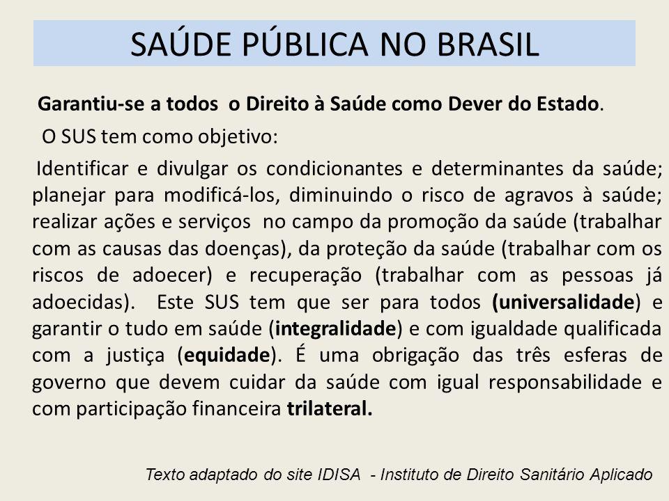 SAÚDE PÚBLICA NO BRASIL Garantiu-se a todos o Direito à Saúde como Dever do Estado. O SUS tem como objetivo: Identificar e divulgar os condicionantes