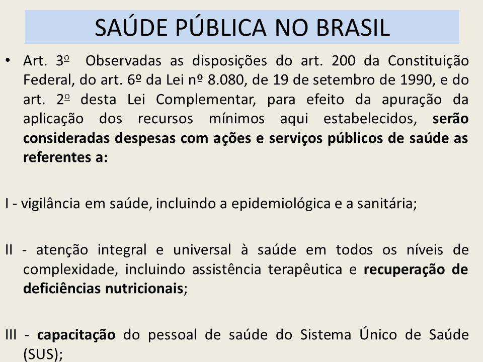 SAÚDE PÚBLICA NO BRASIL Art. 3 o Observadas as disposições do art. 200 da Constituição Federal, do art. 6º da Lei nº 8.080, de 19 de setembro de 1990,