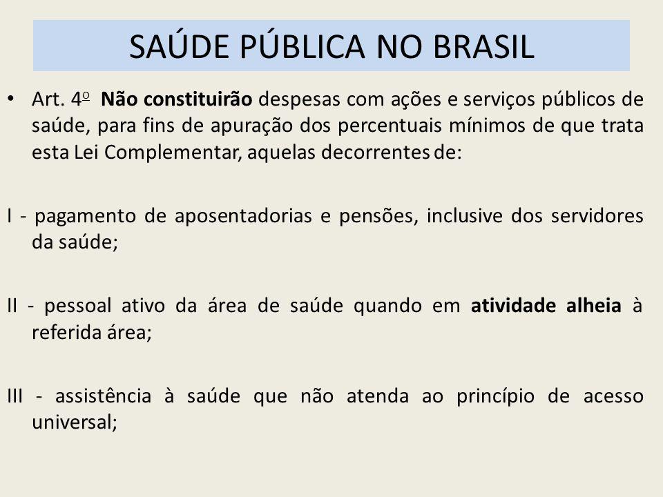 SAÚDE PÚBLICA NO BRASIL Art. 4 o Não constituirão despesas com ações e serviços públicos de saúde, para fins de apuração dos percentuais mínimos de qu
