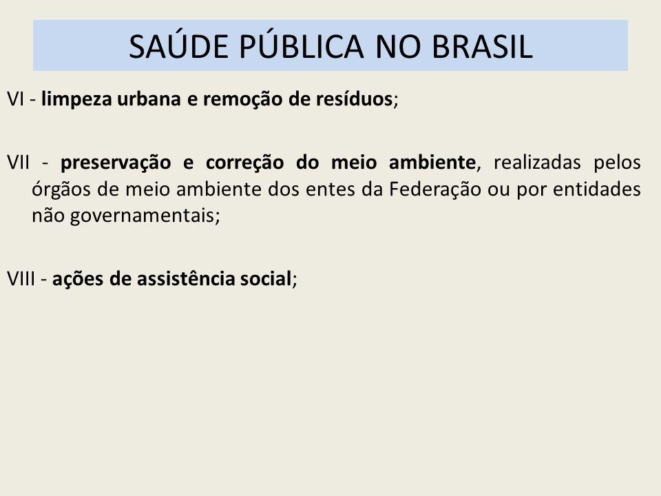 SAÚDE PÚBLICA NO BRASIL VI - limpeza urbana e remoção de resíduos; VII - preservação e correção do meio ambiente, realizadas pelos órgãos de meio ambi