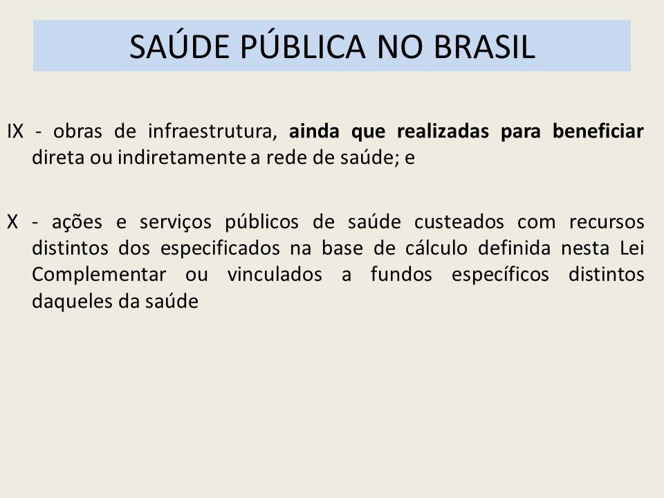SAÚDE PÚBLICA NO BRASIL IX - obras de infraestrutura, ainda que realizadas para beneficiar direta ou indiretamente a rede de saúde; e X - ações e serv