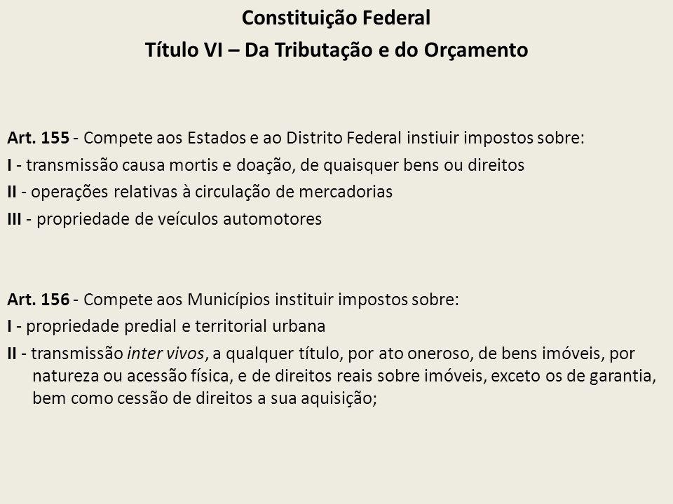 Constituição Federal Título VI – Da Tributação e do Orçamento Art. 155 - Compete aos Estados e ao Distrito Federal instiuir impostos sobre: I - transm