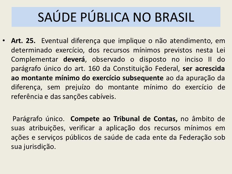 SAÚDE PÚBLICA NO BRASIL Art. 25. Eventual diferença que implique o não atendimento, em determinado exercício, dos recursos mínimos previstos nesta Lei