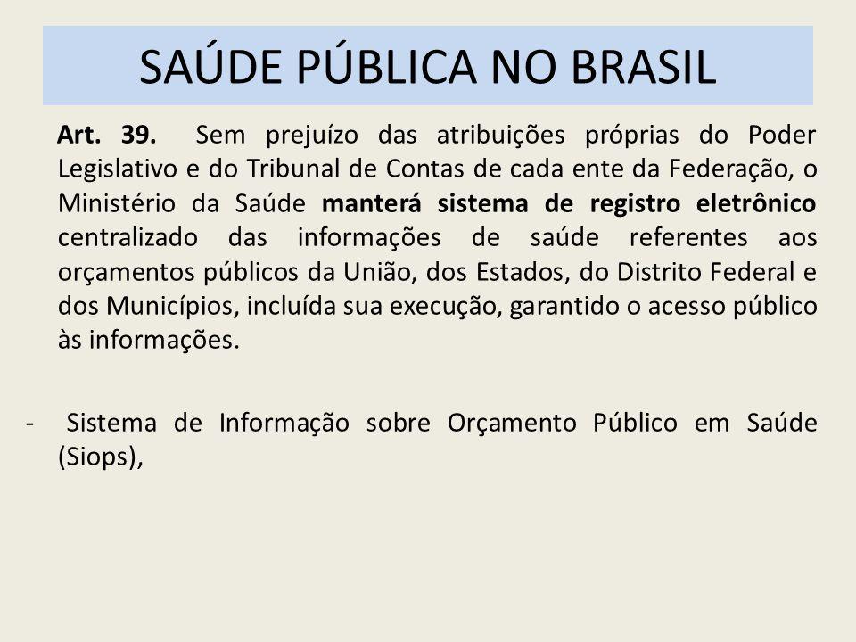 SAÚDE PÚBLICA NO BRASIL Art. 39. Sem prejuízo das atribuições próprias do Poder Legislativo e do Tribunal de Contas de cada ente da Federação, o Minis