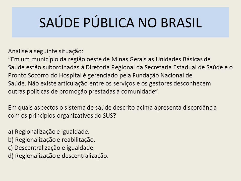 SAÚDE PÚBLICA NO BRASIL Analise a seguinte situação: Em um município da região oeste de Minas Gerais as Unidades Básicas de Saúde estão subordinadas à