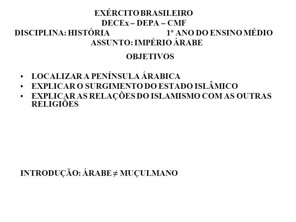 EXÉRCITO BRASILEIRO DECEx – DEPA – CMF DISCIPLINA: HISTÓRIA 1º ANO DO ENSINO MÉDIO ASSUNTO: IMPÉRIO ÁRABE OBJETIVOS LOCALIZAR A PENÍNSULA ÁRABICA EXPL