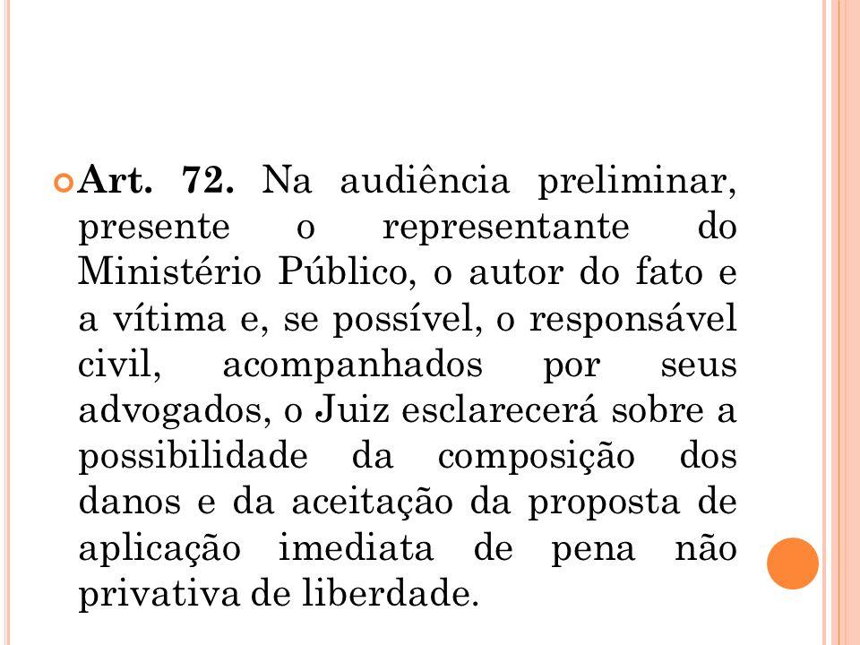 Art. 72. Na audiência preliminar, presente o representante do Ministério Público, o autor do fato e a vítima e, se possível, o responsável civil, acom