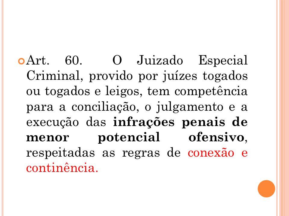 Art. 60. O Juizado Especial Criminal, provido por juízes togados ou togados e leigos, tem competência para a conciliação, o julgamento e a execução da