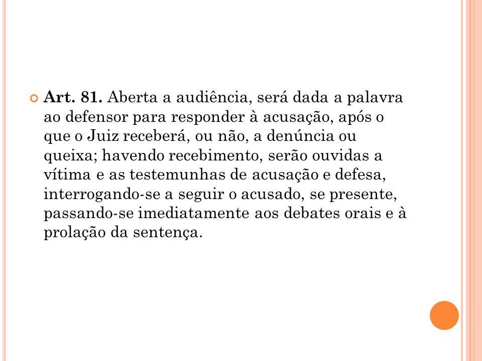 Art. 81. Aberta a audiência, será dada a palavra ao defensor para responder à acusação, após o que o Juiz receberá, ou não, a denúncia ou queixa; have