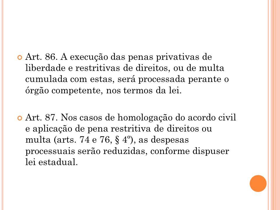 Art. 86. A execução das penas privativas de liberdade e restritivas de direitos, ou de multa cumulada com estas, será processada perante o órgão compe