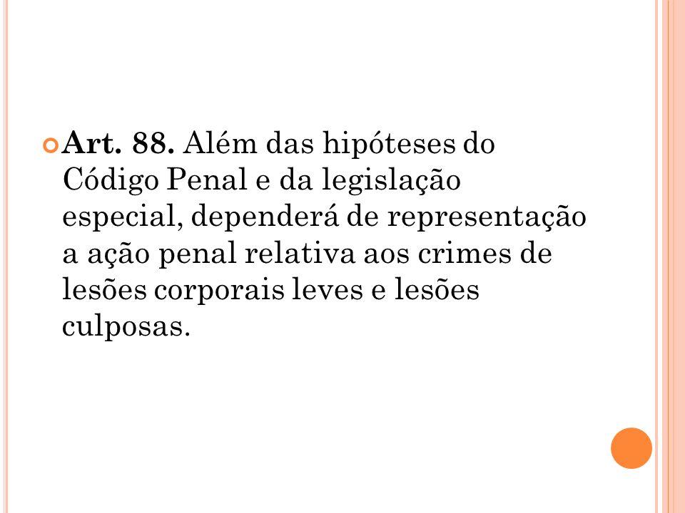 Art. 88. Além das hipóteses do Código Penal e da legislação especial, dependerá de representação a ação penal relativa aos crimes de lesões corporais