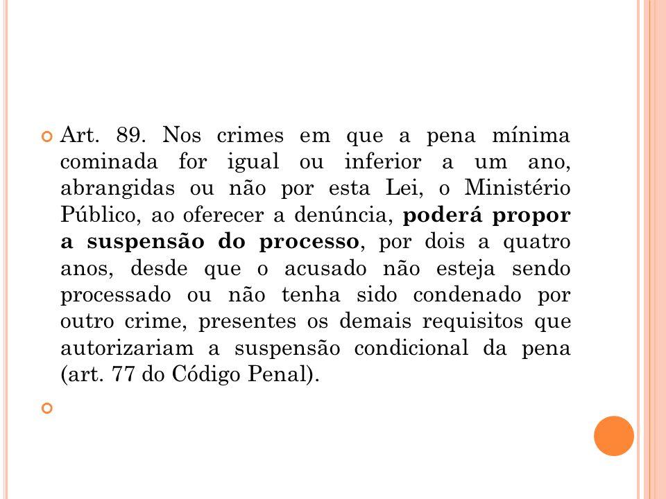 Art. 89. Nos crimes em que a pena mínima cominada for igual ou inferior a um ano, abrangidas ou não por esta Lei, o Ministério Público, ao oferecer a