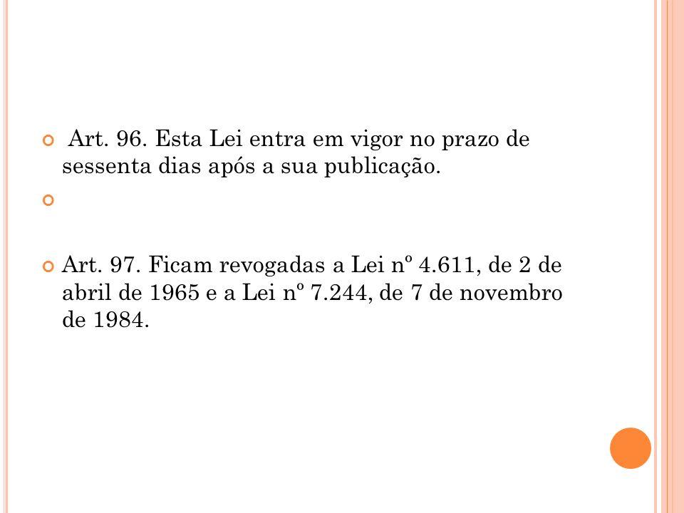 Art. 96. Esta Lei entra em vigor no prazo de sessenta dias após a sua publicação. Art. 97. Ficam revogadas a Lei nº 4.611, de 2 de abril de 1965 e a L