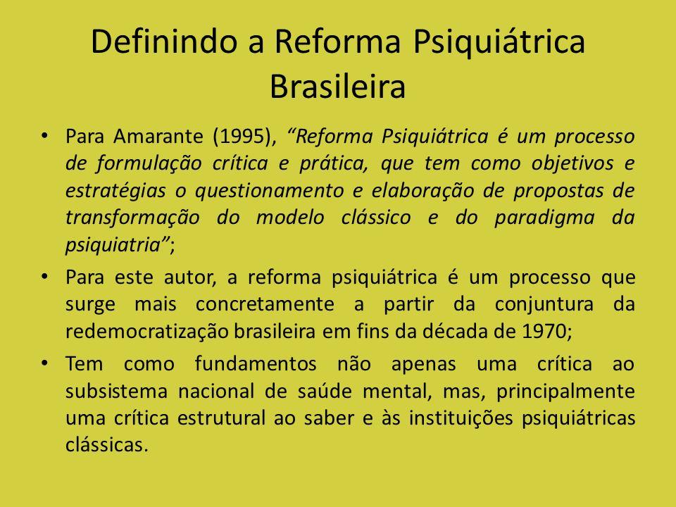 Definindo a Reforma Psiquiátrica Brasileira Para Amarante (1995), Reforma Psiquiátrica é um processo de formulação crítica e prática, que tem como obj