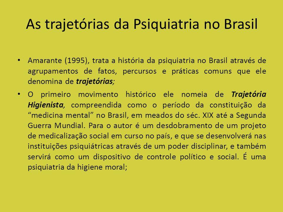 As trajetórias da Psiquiatria no Brasil Amarante (1995), trata a história da psiquiatria no Brasil através de agrupamentos de fatos, percursos e práti