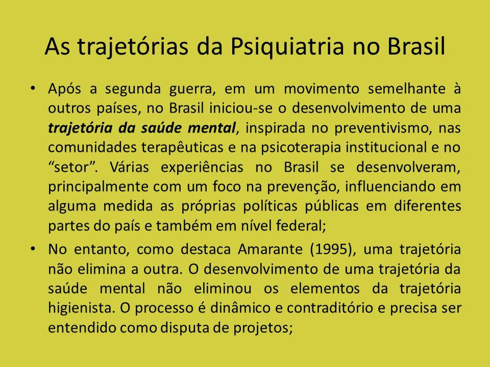 As trajetórias da Psiquiatria no Brasil Após a segunda guerra, em um movimento semelhante à outros países, no Brasil iniciou-se o desenvolvimento de u