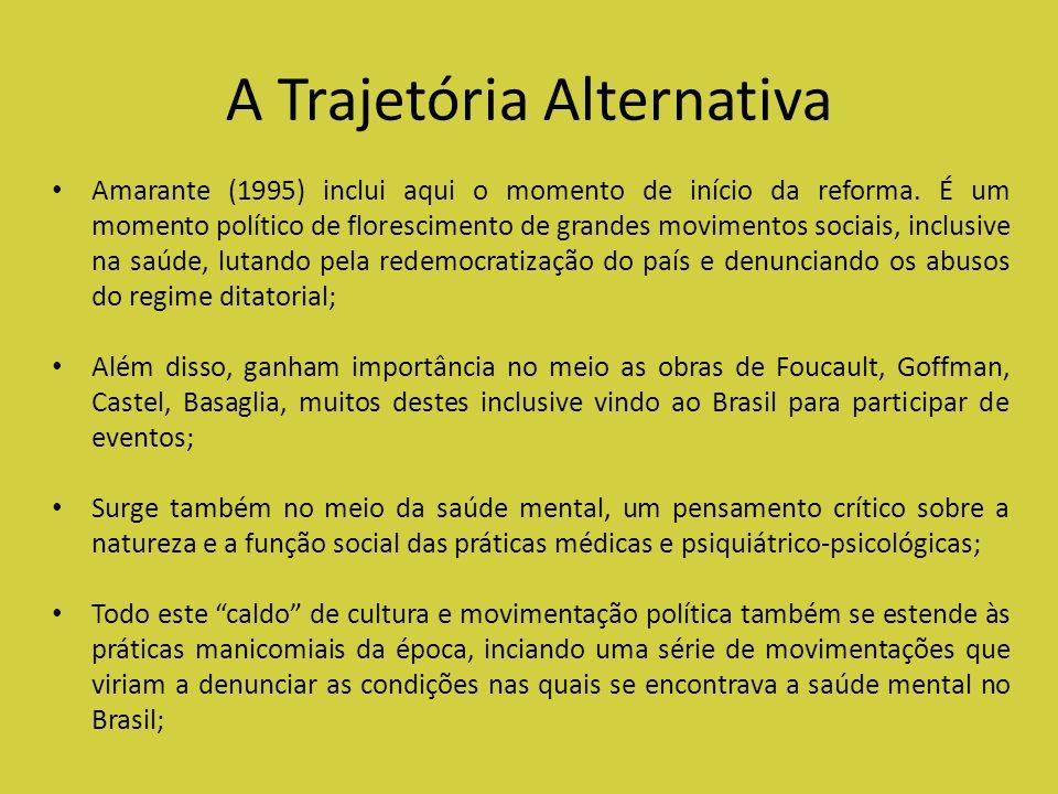 A Trajetória Alternativa Amarante (1995) inclui aqui o momento de início da reforma. É um momento político de florescimento de grandes movimentos soci