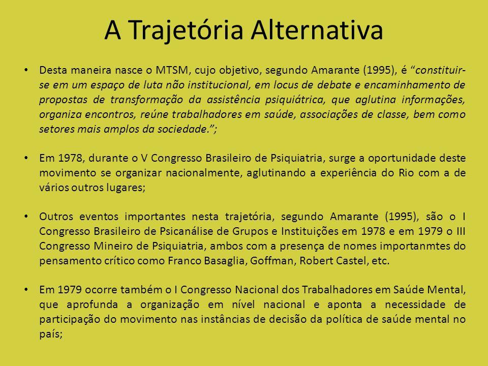 A Trajetória Alternativa Desta maneira nasce o MTSM, cujo objetivo, segundo Amarante (1995), é constituir- se em um espaço de luta não institucional,