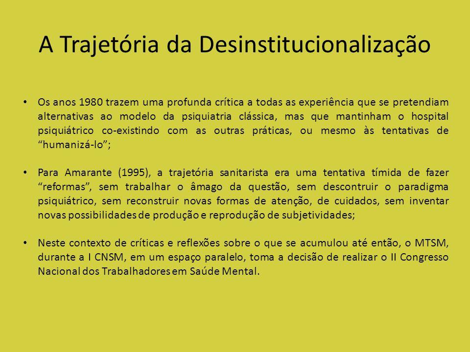 A Trajetória da Desinstitucionalização Os anos 1980 trazem uma profunda crítica a todas as experiência que se pretendiam alternativas ao modelo da psi