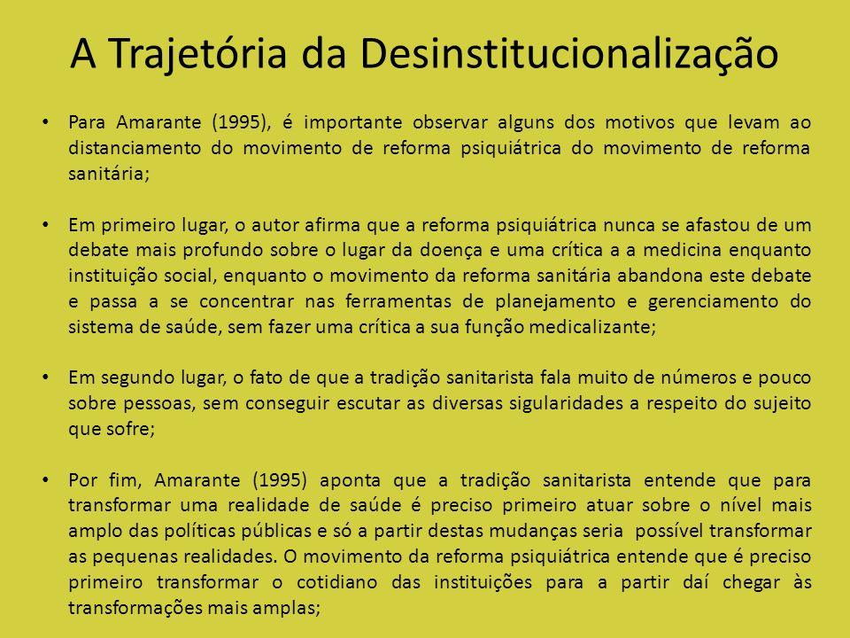 A Trajetória da Desinstitucionalização Para Amarante (1995), é importante observar alguns dos motivos que levam ao distanciamento do movimento de refo
