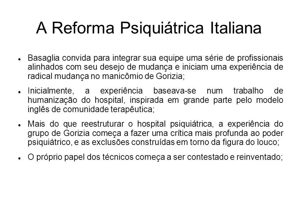 A Reforma Psiquiátrica Italiana Basaglia convida para integrar sua equipe uma série de profissionais alinhados com seu desejo de mudança e iniciam uma