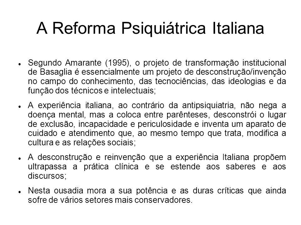 A Reforma Psiquiátrica Italiana Segundo Amarante (1995), o projeto de transformação institucional de Basaglia é essencialmente um projeto de desconstr