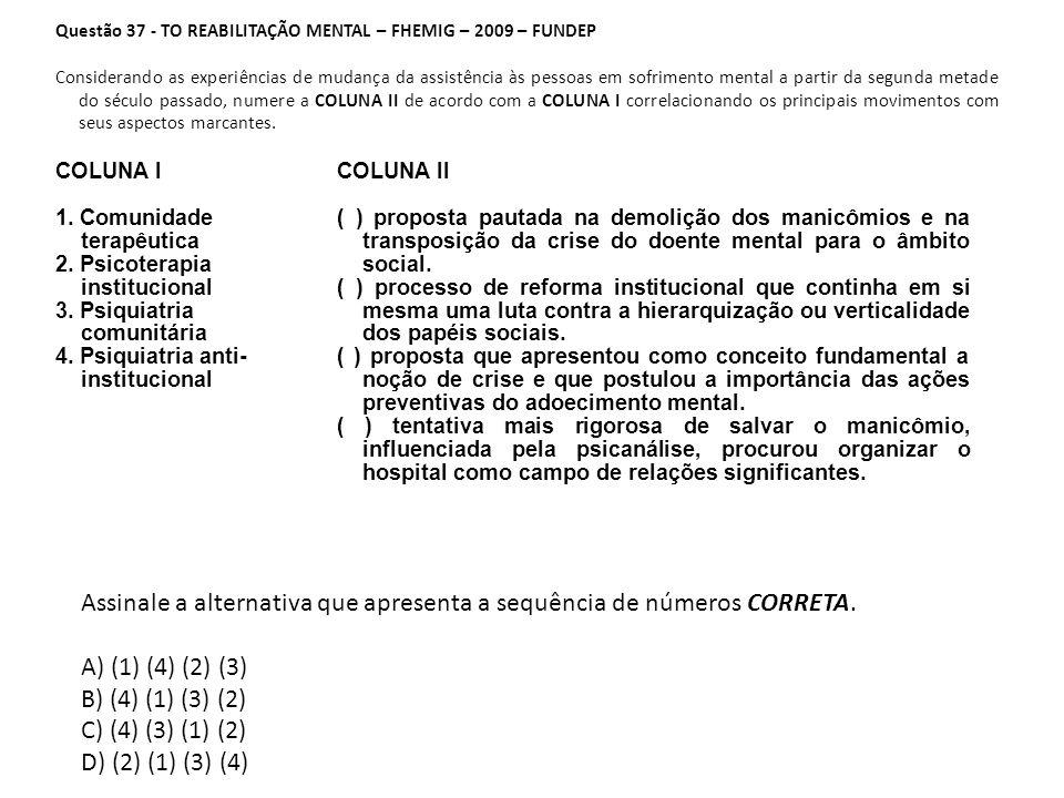 Questão 37 - TO REABILITAÇÃO MENTAL – FHEMIG – 2009 – FUNDEP Considerando as experiências de mudança da assistência às pessoas em sofrimento mental a