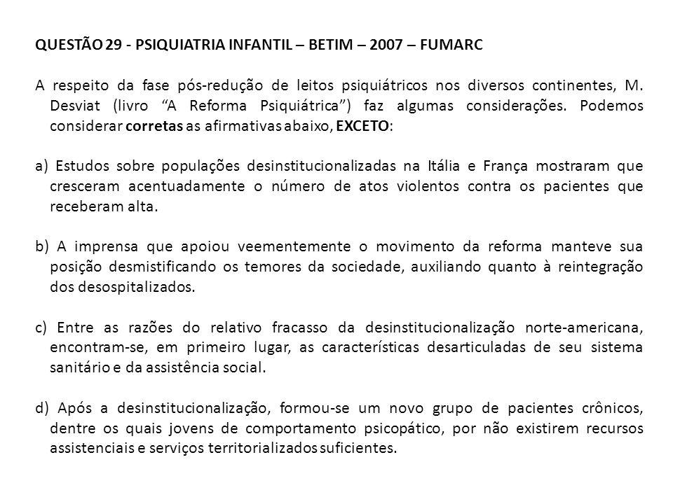 QUESTÃO 29 - PSIQUIATRIA INFANTIL – BETIM – 2007 – FUMARC A respeito da fase pós-redução de leitos psiquiátricos nos diversos continentes, M. Desviat