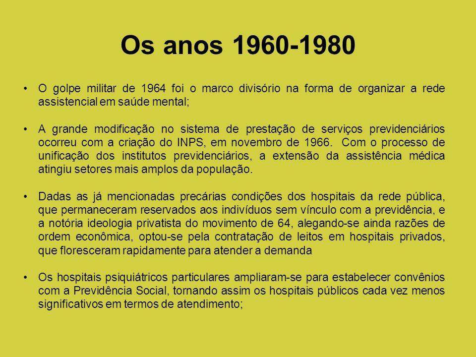 O golpe militar de 1964 foi o marco divisório na forma de organizar a rede assistencial em saúde mental; A grande modificação no sistema de prestação