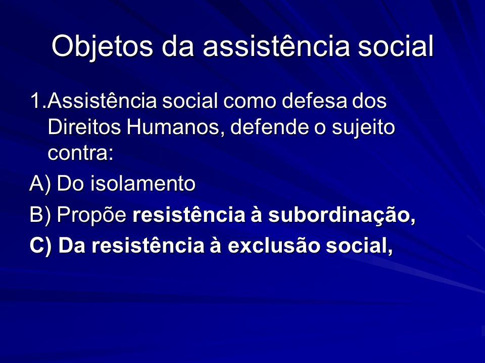 Objetos da assistência social 1.Assistência social como defesa dos Direitos Humanos, defende o sujeito contra: A) Do isolamento B) Propõe resistência