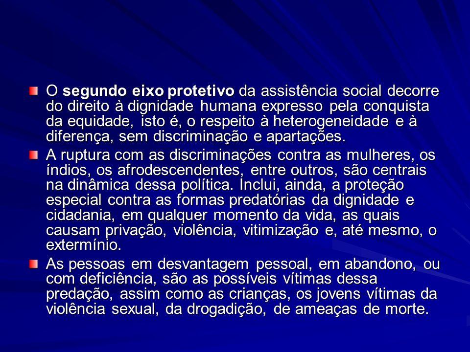 O segundo eixo protetivo da assistência social decorre do direito à dignidade humana expresso pela conquista da equidade, isto é, o respeito à heterog