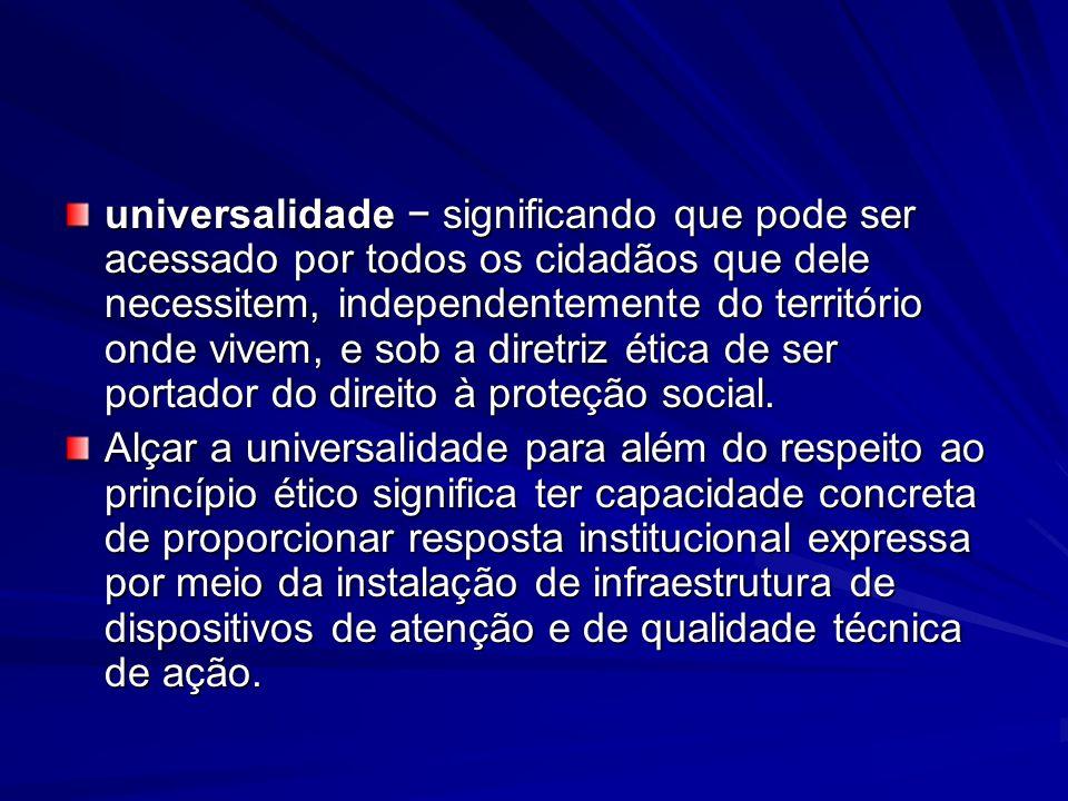 universalidade significando que pode ser acessado por todos os cidadãos que dele necessitem, independentemente do território onde vivem, e sob a diret