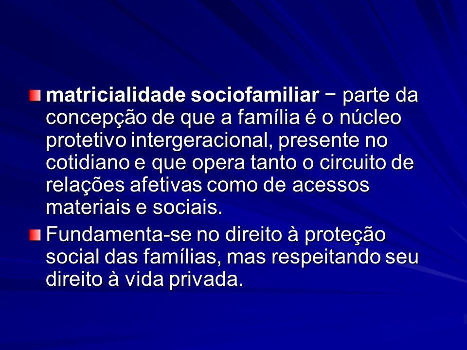 matricialidade sociofamiliar parte da concepção de que a família é o núcleo protetivo intergeracional, presente no cotidiano e que opera tanto o circu