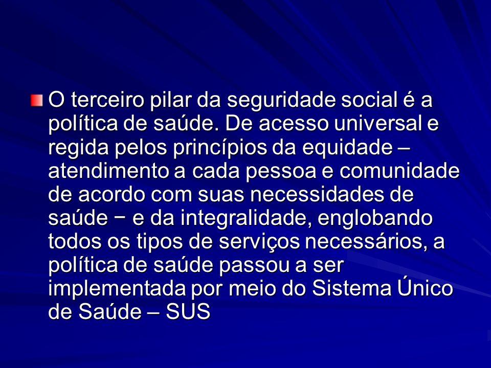 O terceiro pilar da seguridade social é a política de saúde. De acesso universal e regida pelos princípios da equidade – atendimento a cada pessoa e c