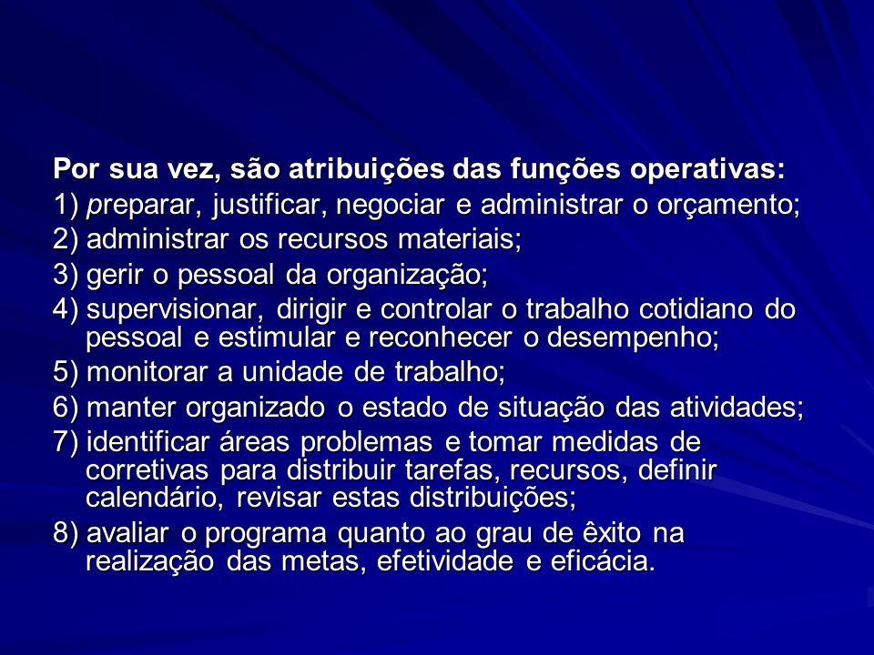 Por sua vez, são atribuições das funções operativas: 1) preparar, justificar, negociar e administrar o orçamento; 2) administrar os recursos materiais
