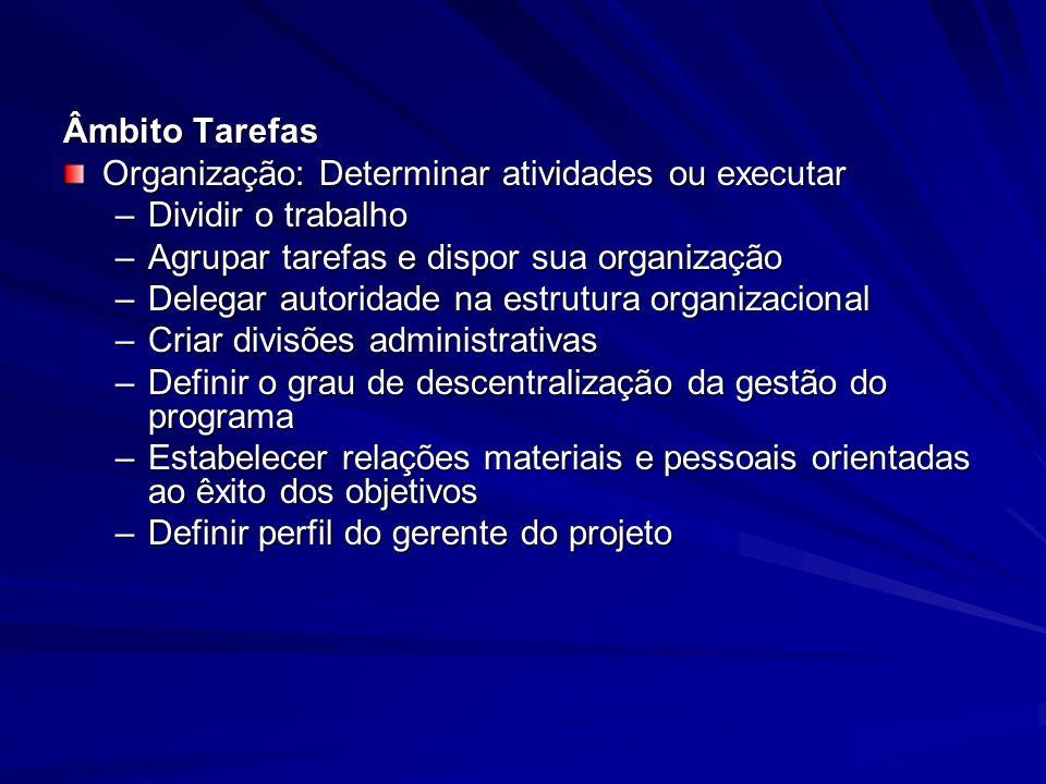 Âmbito Tarefas Organização: Determinar atividades ou executar –Dividir o trabalho –Agrupar tarefas e dispor sua organização –Delegar autoridade na est