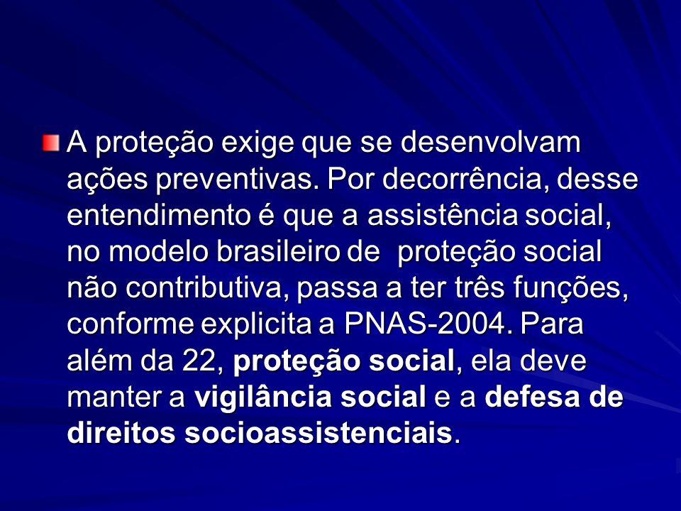 A proteção exige que se desenvolvam ações preventivas. Por decorrência, desse entendimento é que a assistência social, no modelo brasileiro de proteçã
