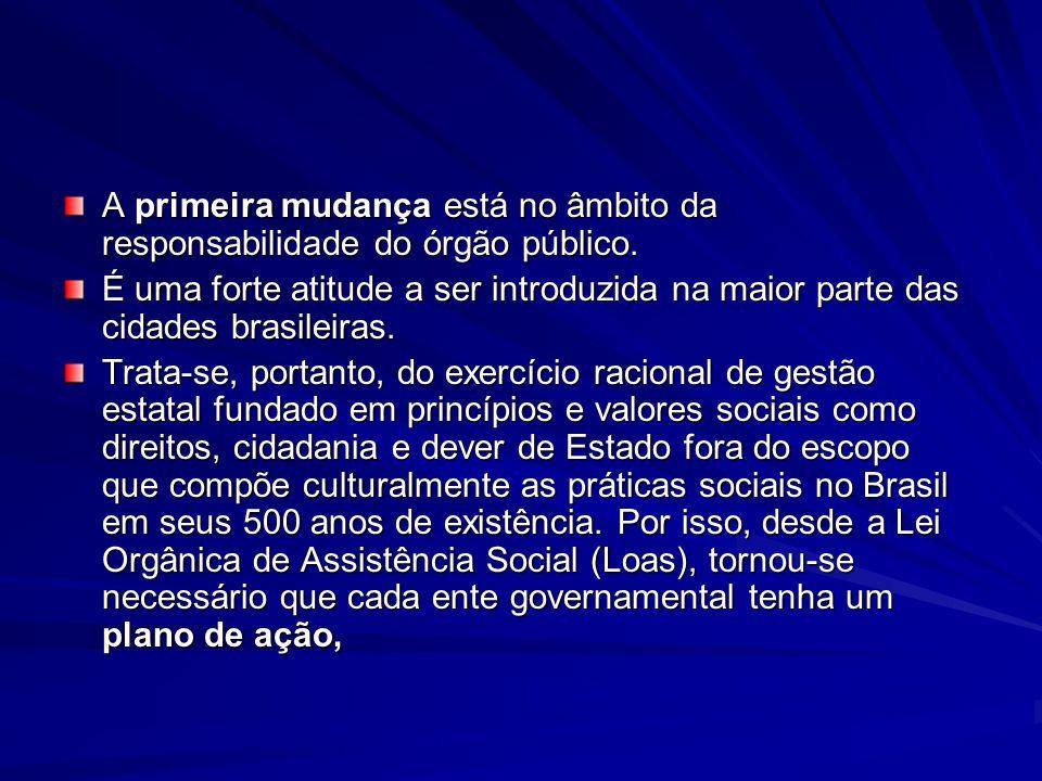 A primeira mudança está no âmbito da responsabilidade do órgão público. É uma forte atitude a ser introduzida na maior parte das cidades brasileiras.