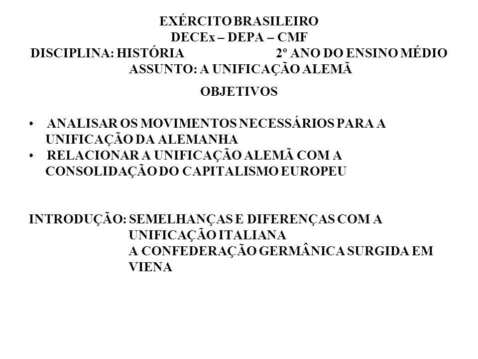 EXÉRCITO BRASILEIRO DECEx – DEPA – CMF DISCIPLINA: HISTÓRIA 2º ANO DO ENSINO MÉDIO ASSUNTO: A UNIFICAÇÃO ALEMÃ OBJETIVOS ANALISAR OS MOVIMENTOS NECESS