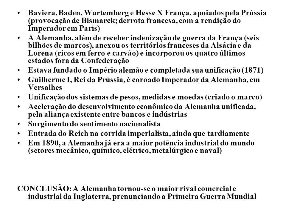 Baviera, Baden, Wurtemberg e Hesse X França, apoiados pela Prússia (provocação de Bismarck; derrota francesa, com a rendição do Imperador em Paris) A