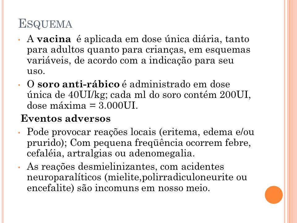 E SQUEMA A vacina é aplicada em dose única diária, tanto para adultos quanto para crianças, em esquemas variáveis, de acordo com a indicação para seu