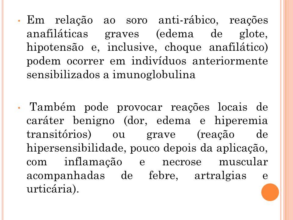 Em relação ao soro anti-rábico, reações anafiláticas graves (edema de glote, hipotensão e, inclusive, choque anafilático) podem ocorrer em indivíduos