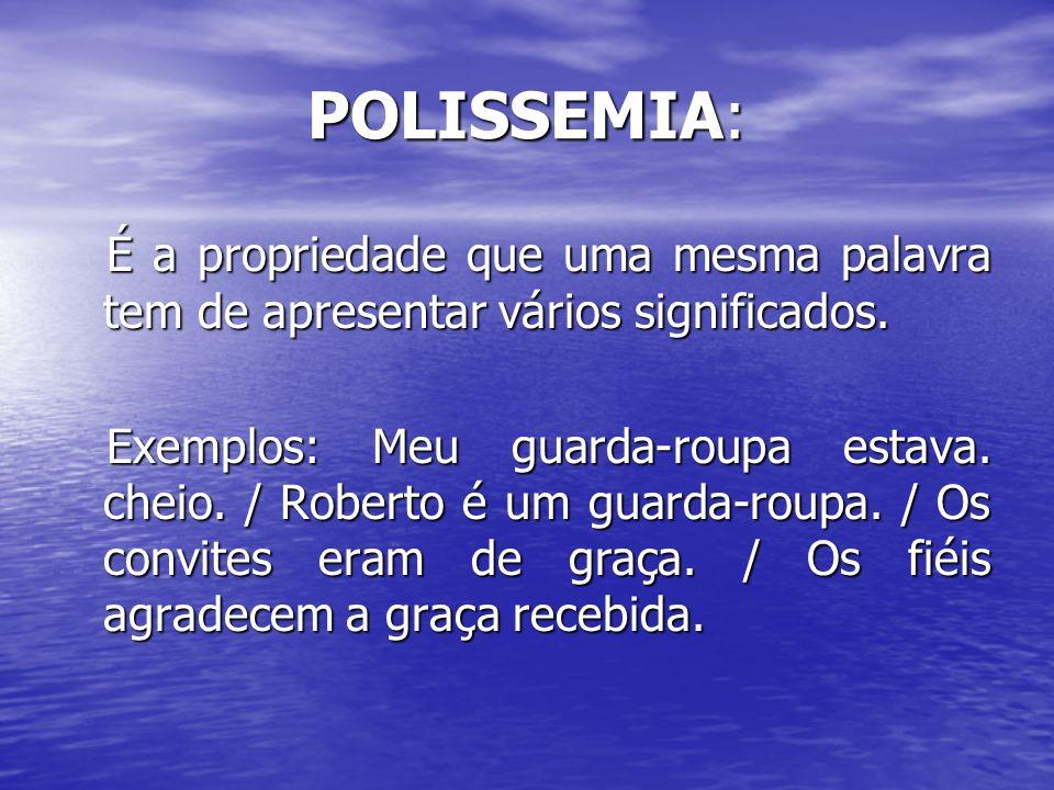 POLISSEMIA: É a propriedade que uma mesma palavra tem de apresentar vários significados. É a propriedade que uma mesma palavra tem de apresentar vário
